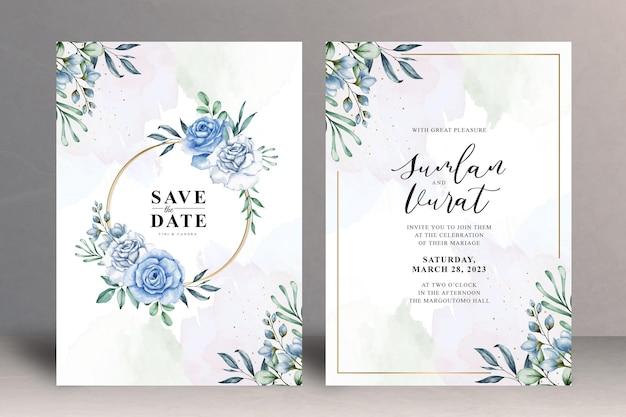 Modelo de cartão de convite de casamento floral lindo