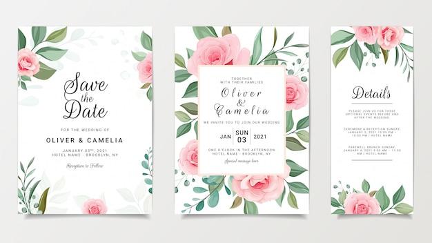 Modelo de cartão de convite de casamento floral pêssego com decoração de moldura de flores