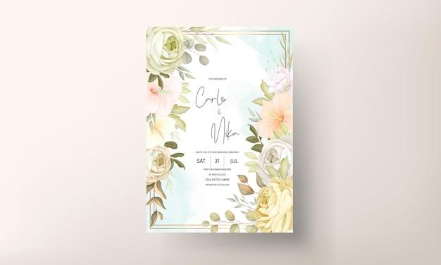 Modelo de cartão de convite de casamento floral quente outono outono
