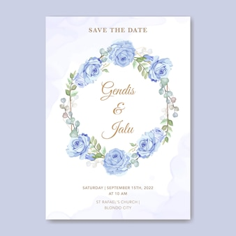 Modelo de cartão de convite de casamento floral rosa azul