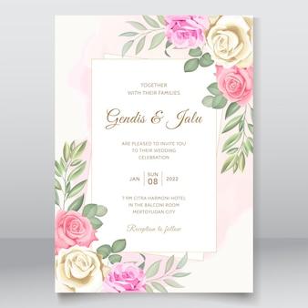Modelo de cartão de convite de casamento floral simples e elegante