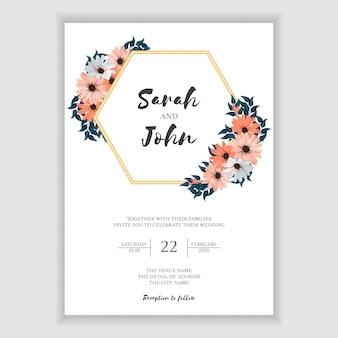 Modelo de cartão de convite de casamento floral simples