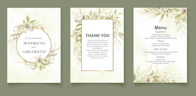 Modelo de cartão de convite de casamento floral suave e elegante