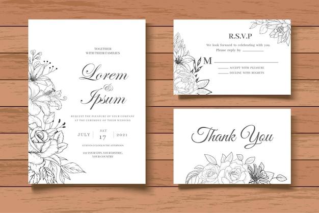 Modelo de cartão de convite de casamento floral vintage