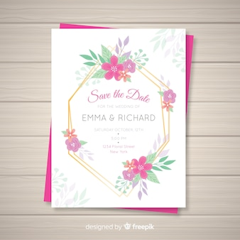 Modelo de cartão de convite de casamento floral