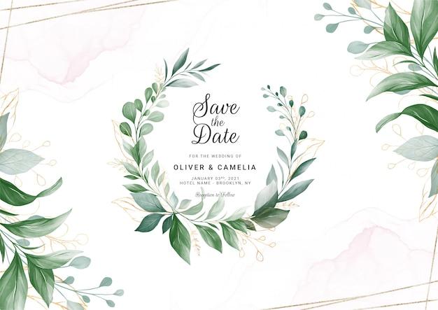 Modelo de cartão de convite de casamento folhagem moderna com moldura floral ouro aquarela e fronteira.
