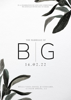 Modelo de cartão de convite de casamento frondoso