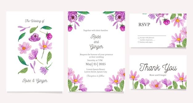 Modelo de cartão de convite de casamento ilustração em aquarela de flor roxa