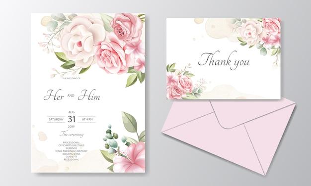 Modelo de cartão de convite de casamento linda coroa floral