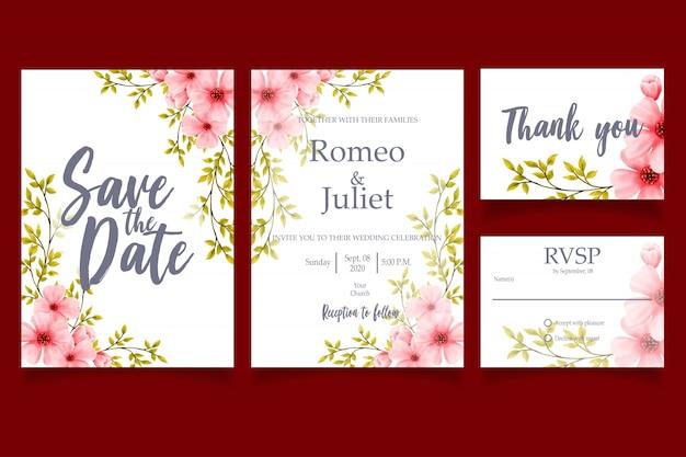 Modelo de cartão de convite de casamento linda flor aquarela