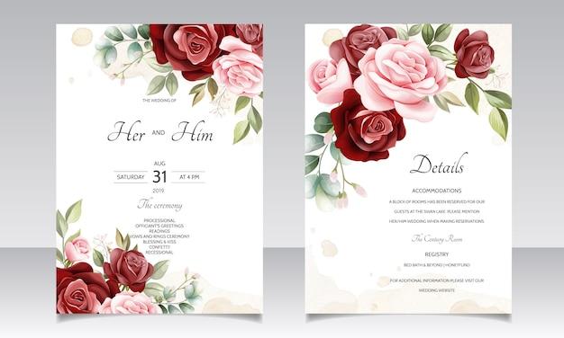 Modelo de cartão de convite de casamento linda grinalda floral