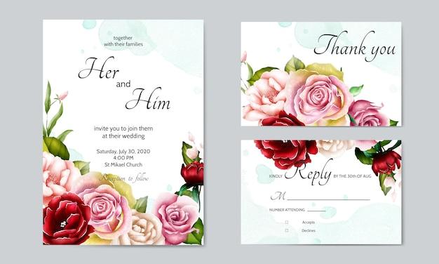 Modelo de cartão de convite de casamento lindo com folhas florais