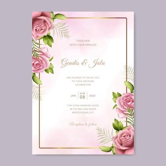 Modelo de cartão de convite de casamento lindo com moldura floral