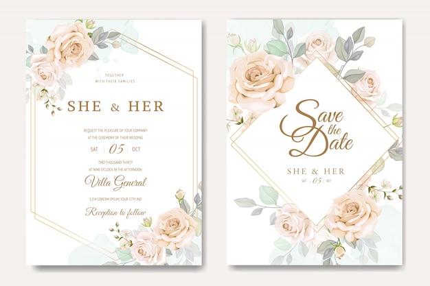 Modelo de cartão de convite de casamento lindo com rosas brancas e amarelas