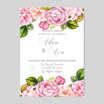 Modelo de cartão de convite de casamento lindo com rosas e flores