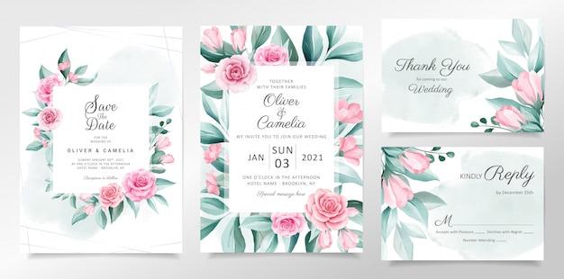 Modelo de cartão de convite de casamento lindo conjunto com decoração suave de flores em aquarela