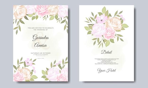 Modelo de cartão de convite de casamento lindo conjunto com moldura floral e folhas