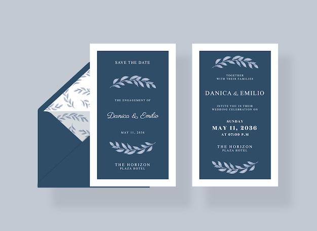 Modelo de cartão de convite de casamento lindo e luxuoso