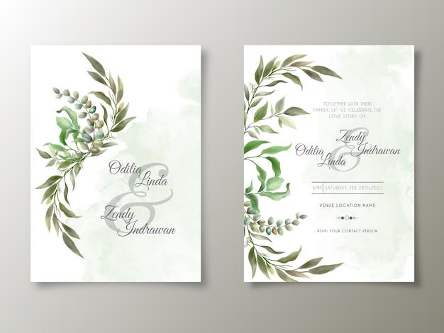 Modelo de cartão de convite de casamento lindo e verde com folhas