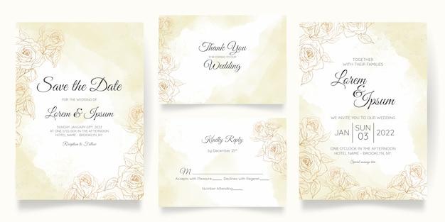 Modelo de cartão de convite de casamento lindo em aquarela com decoração floral dourada