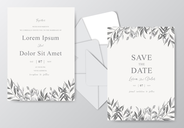 Modelo de cartão de convite de casamento lindo em aquarela com folhagem monocromática