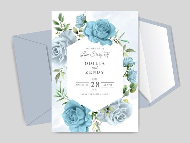 Modelo de cartão de convite de casamento lindo floral desenhado à mão