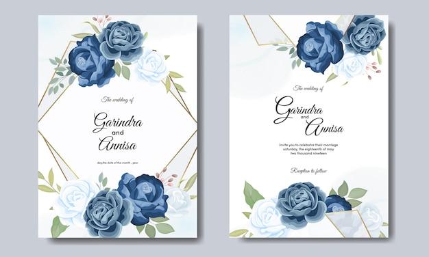 Modelo de cartão de convite de casamento lindo quadro floral com rosas azuis