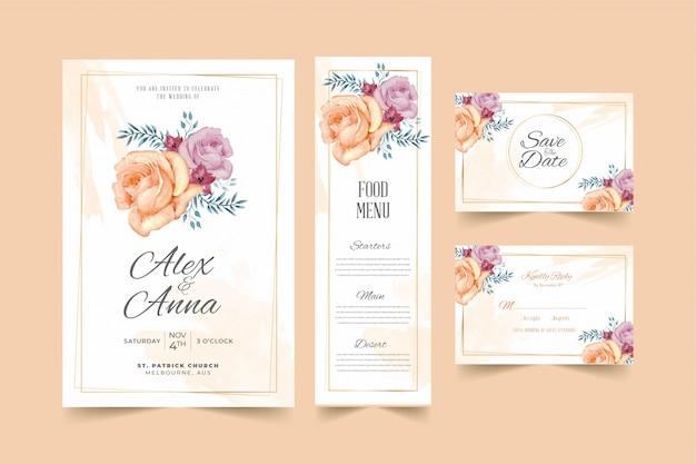Modelo de cartão de convite de casamento lindo quadro floral pêssego