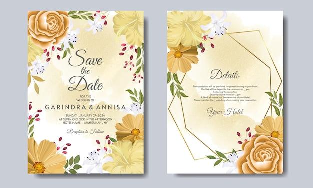 Modelo de cartão de convite de casamento lindo quadro floral vetor premium