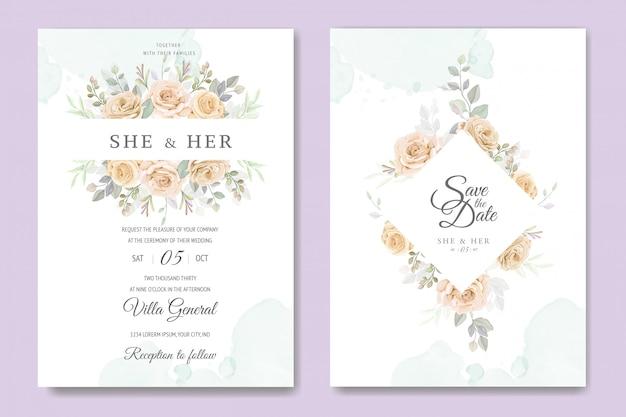 Modelo de cartão de convite de casamento lindo quadro floral