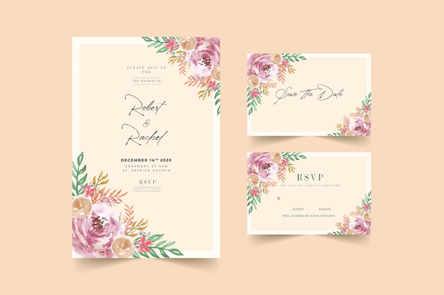 Modelo de cartão de convite de casamento lindo quadro pêssego & rosa