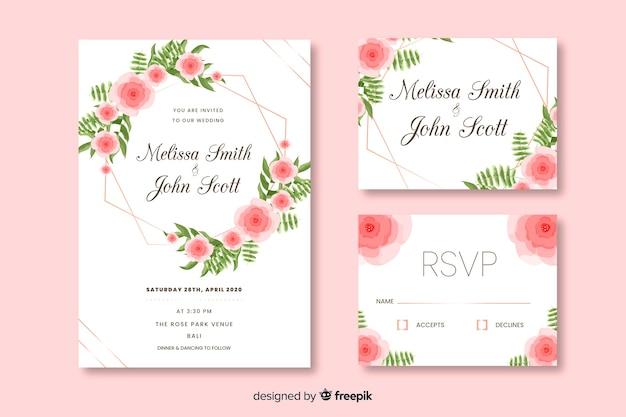 Modelo de cartão de convite de casamento liso