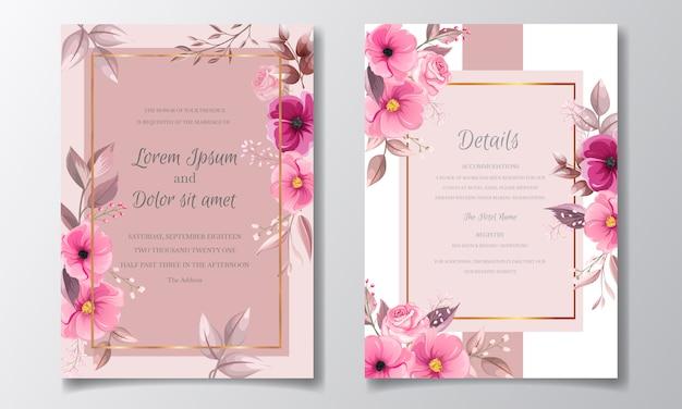 Modelo de cartão de convite de casamento marrom romântico conjunto com rosa cosmos flores e folhas