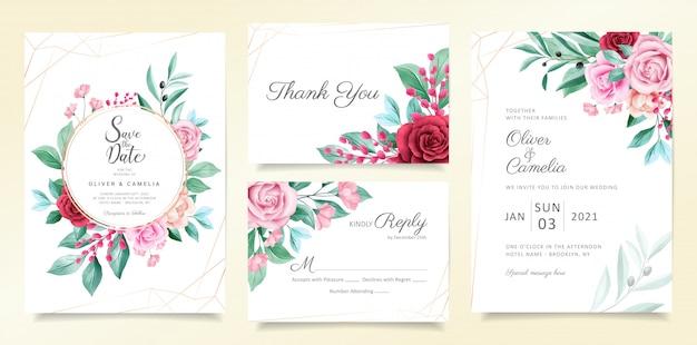 Modelo de cartão de convite de casamento moderno conjunto com flores em aquarela e decoração da linha geométrica