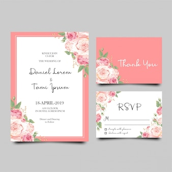 Modelo de cartão de convite de casamento moderno