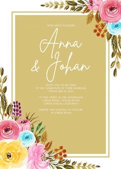 Modelo de cartão de convite de casamento moldura aquarela flor bonita