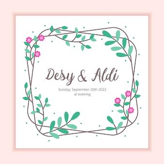 Modelo de cartão de convite de casamento moldura floral