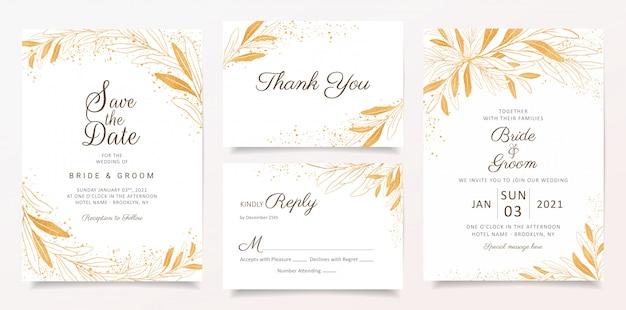 Modelo de cartão de convite de casamento ouro conjunto com decoração floral e glitter.