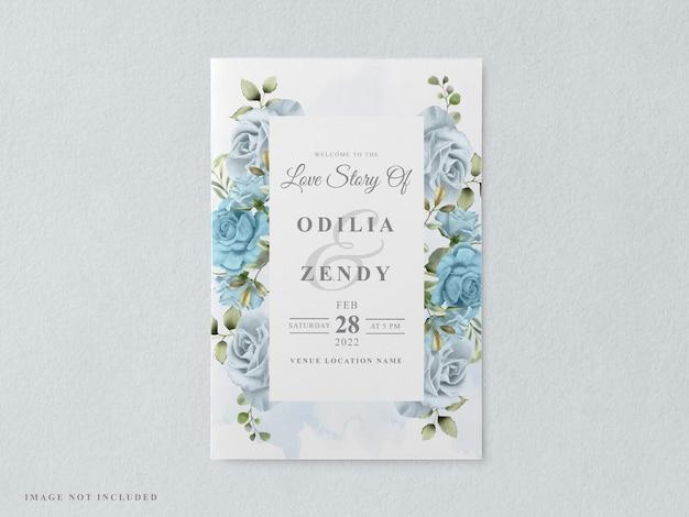Modelo de cartão de convite de casamento para impressão com bela mão floral desenhada
