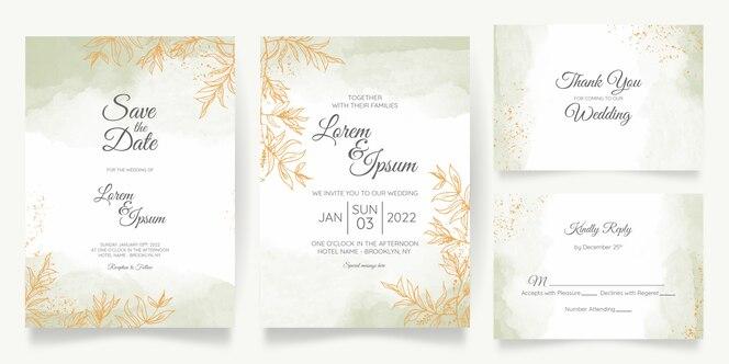 modelo de cartão de convite de casamento pastel aquarela com decoração floral dourada