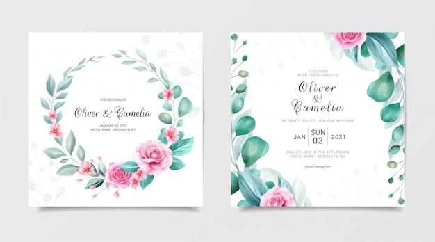 Modelo de cartão de convite de casamento quadrado elegante conjunto com coroa de flores em aquarela e fronteira