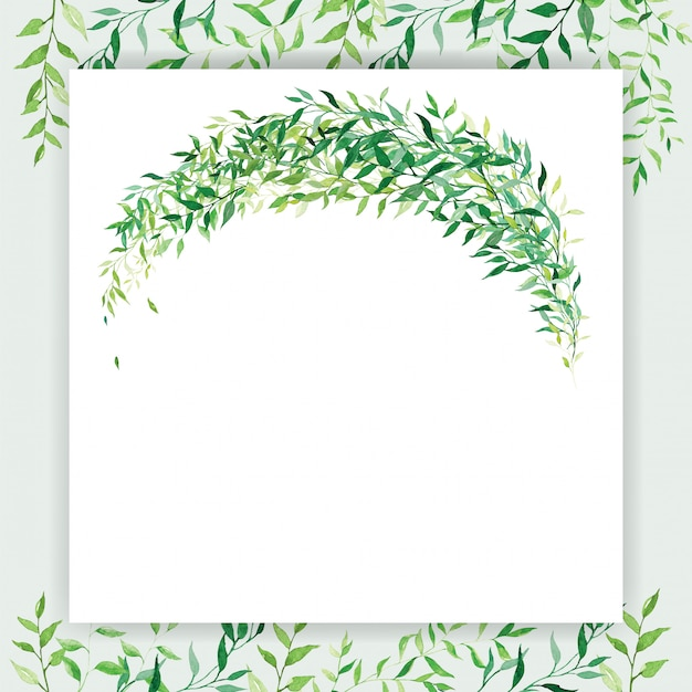 Modelo de cartão de convite de casamento quadrado no tema de cor branca e verde decorado com floral em estilo aquarela