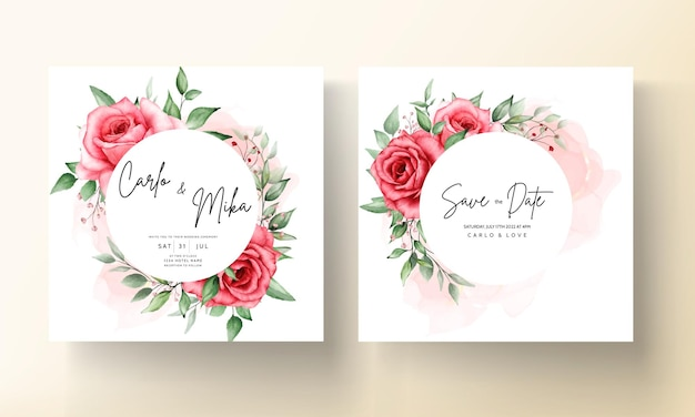 Modelo de cartão de convite de casamento romântico com flor marrom