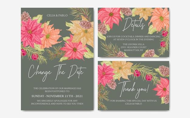 Modelo de cartão de convite de casamento romântico com moldura floral definida coleção pacote pacote