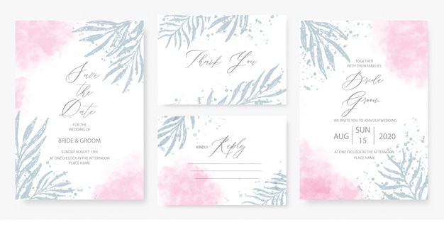 Modelo de cartão de convite de casamento rosa aquarela conjunto com decoração floral verde.