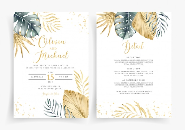 Modelo de cartão de convite de casamento tropical ouro