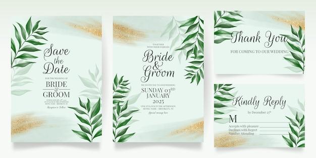 Modelo de cartão de convite de casamento verde com folhas em aquarela glitter dourados
