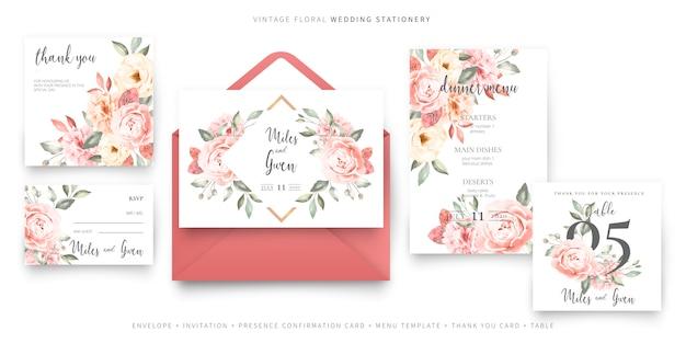 Modelo de cartão de convite de casamento vintage com coleção de envelope