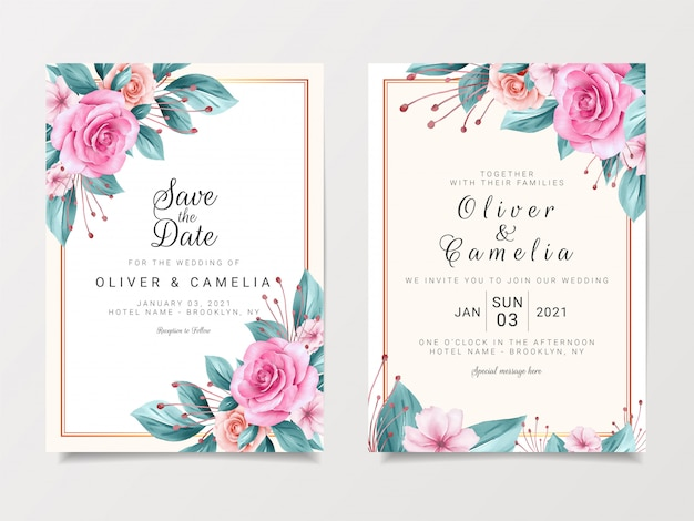 Modelo de cartão de convite de casamento vintage conjunto com design floral em aquarela