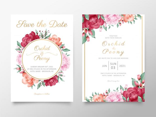Modelo de cartão de convite de casamento vintage conjunto com flores em aquarela, rosas e peônias
